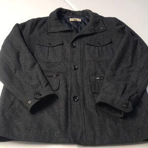 MICHAEL KORS Mens Charcoal Gray Wool Blend Coat